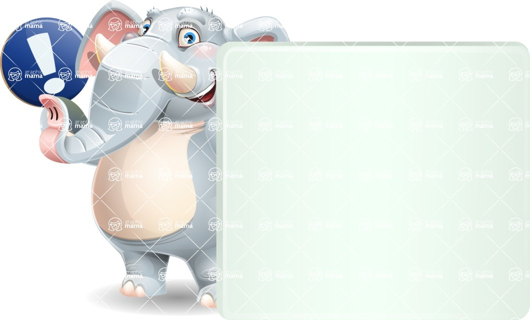 Elephant Cartoon Vector Character - Holding a Blank sign and Pointing
