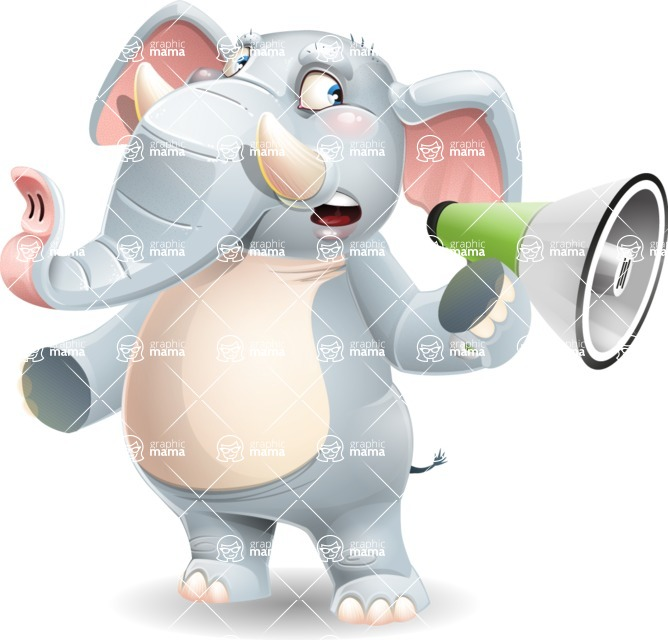 Elephant Cartoon Vector Character - Holding a Loudspeaker
