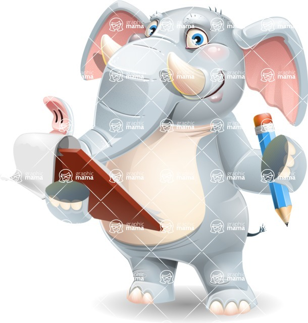 Elephant Cartoon Vector Character - Holding a notepad with pencil