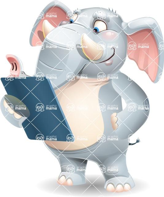 Elephant Cartoon Vector Character - Holding a notepad