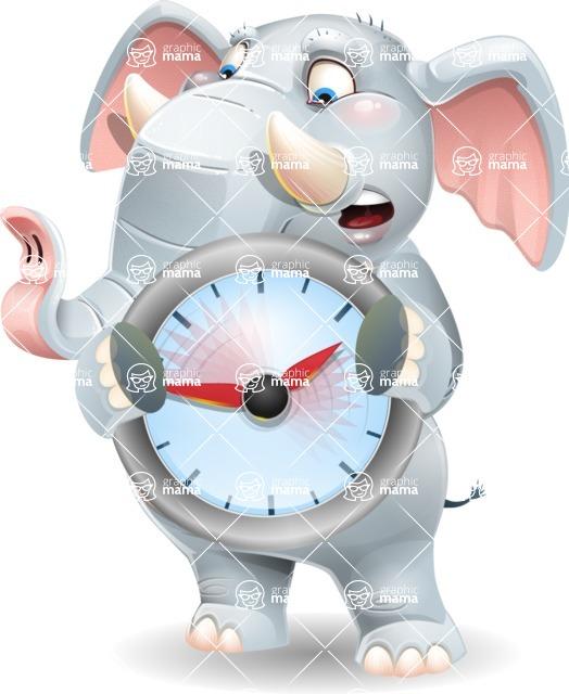 Elephant Cartoon Vector Character - Holding clock