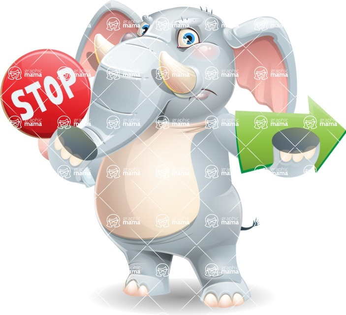 Elephant Cartoon Vector Character - Holding Stop sign with angry face and pointing