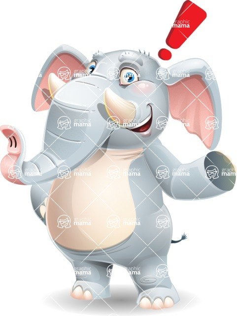 Elephant Cartoon Vector Character - Making a point