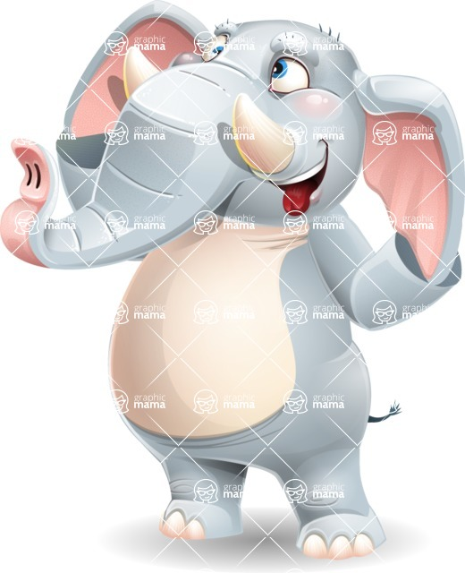 Elephant Cartoon Vector Character - Making Funny face