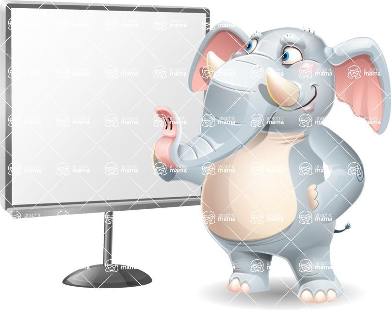 Elephant Cartoon Vector Character - Pointing on a Blank whiteboard