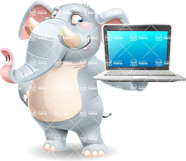 Elephant Cartoon Vector Character - Presenting on laptop
