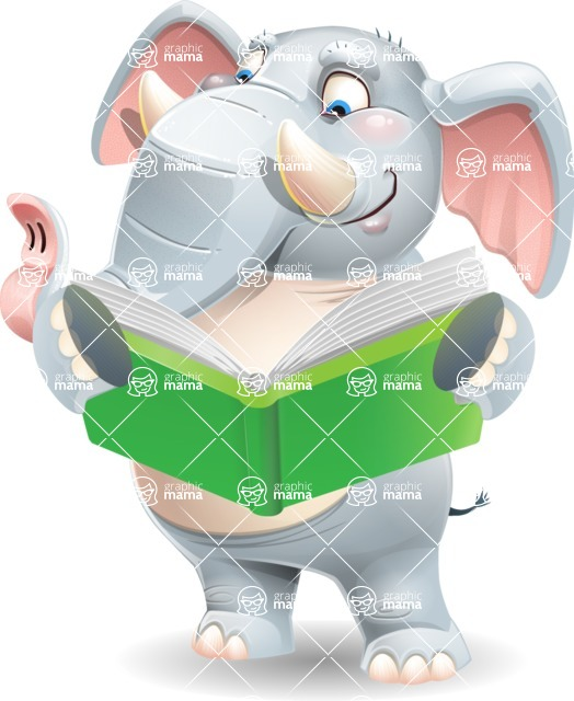 Elephant Cartoon Vector Character - Reading a book