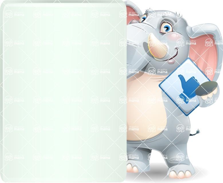 Elephant Cartoon Vector Character - Showing Big Blank banner