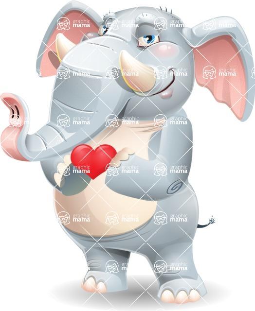 Elephant Cartoon Vector Character - Showing Love