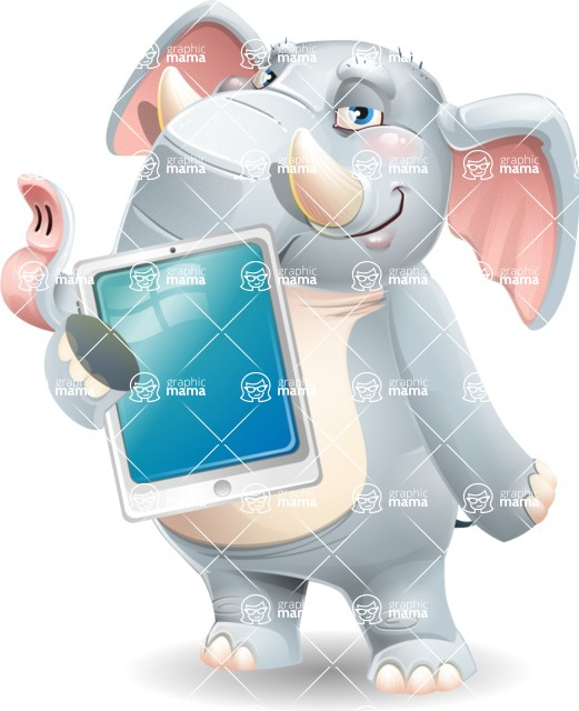 Elephant Cartoon Vector Character - Showing tablet