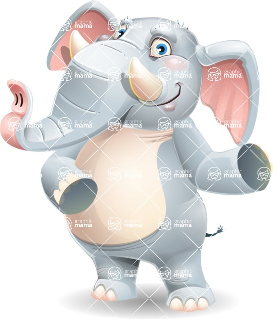 Elephant Cartoon Vector Character - Showing with both hands