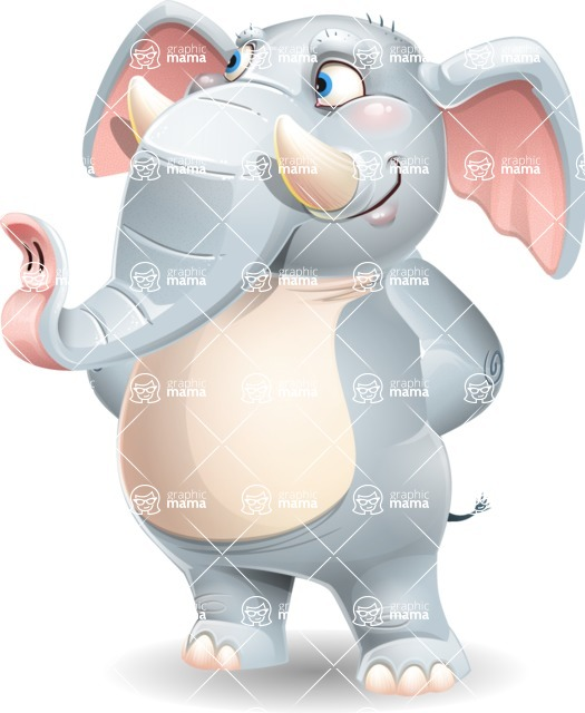 Elephant Cartoon Vector Character - Waiting with hands behind back
