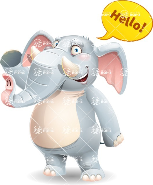 Elephant Cartoon Vector Character - Waving for Hello with a hand