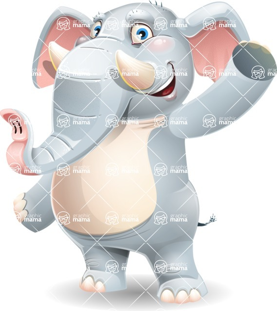 Elephant Cartoon Vector Character - Waving