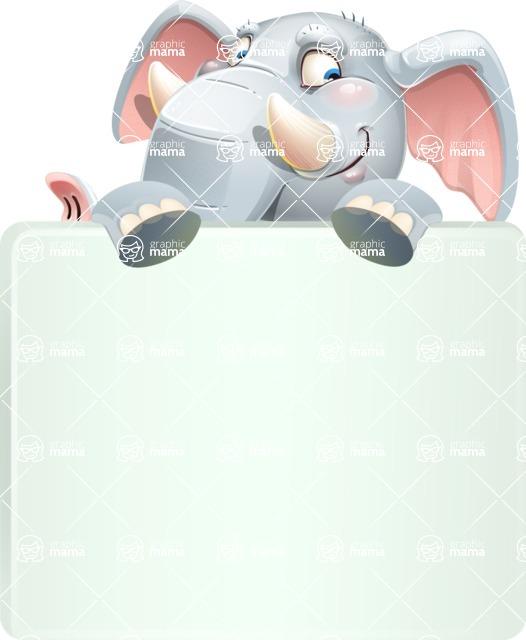 Elephant Cartoon Vector Character - with a Blank Presentation sign