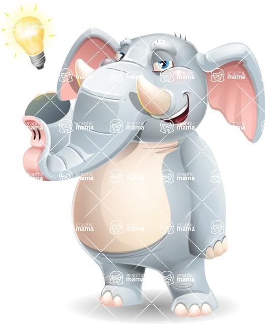 Elephant Cartoon Vector Character - with a Light bulb