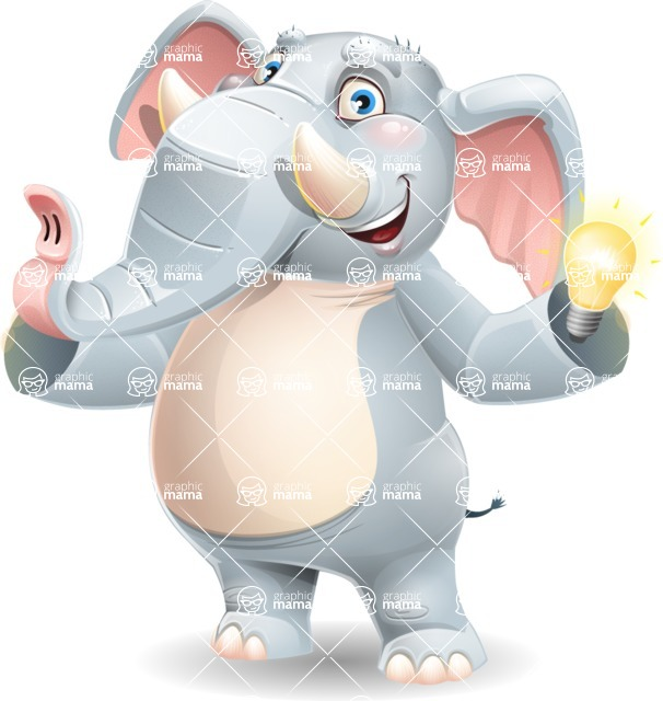 Elephant Cartoon Vector Character - with an Idea