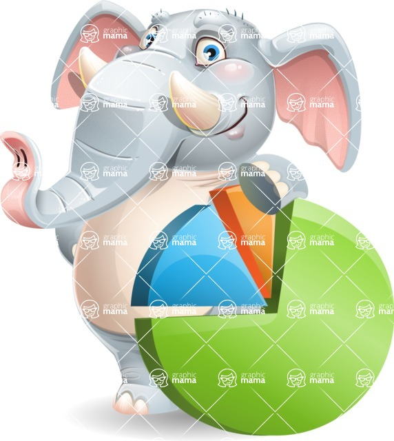Elephant Cartoon Vector Character - with Business graph