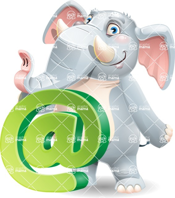 Elephant Cartoon Vector Character - with Email sign