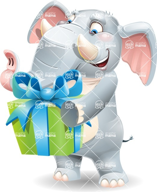 Elephant Cartoon Vector Character - with Gift box