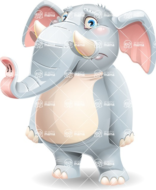 Elephant Cartoon Vector Character - with Sad face