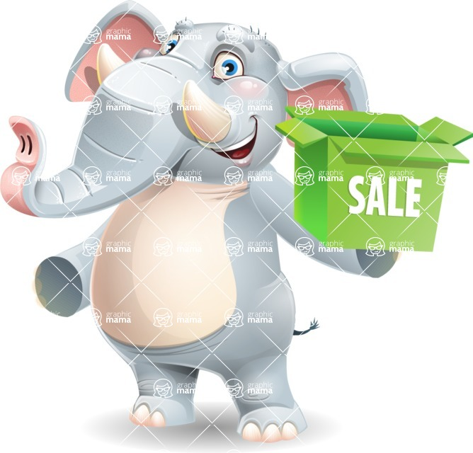 Elephant Cartoon Vector Character - with Sale boxes