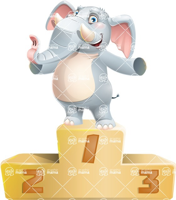 Elephant Cartoon Vector Character - with Success on Top