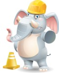 Elephant Cartoon Vector Character - as a Construction worker