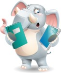 Elephant Cartoon Vector Character - Choosing between Book and Tablet