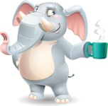 Elephant Cartoon Vector Character - Drinking coffee