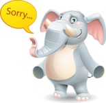 Elephant Cartoon Vector Character - Feeling sorry