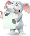 Elephant Cartoon Vector Character - Holding a Blank banner