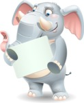 Elephant Cartoon Vector Character - Holding a Blank sign