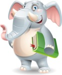 Elephant Cartoon Vector Character - Holding a book