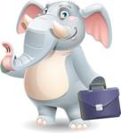 Elephant Cartoon Vector Character - Holding a briefcase