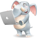 Elephant Cartoon Vector Character - Holding a laptop