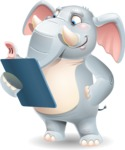 Elephant Cartoon Vector Character - Holding a notepad