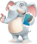 Elephant Cartoon Vector Character - Holding a smartphone