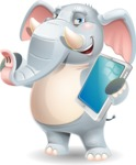 Elephant Cartoon Vector Character - Holding an iPad