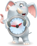 Elephant Cartoon Vector Character - Holding clock