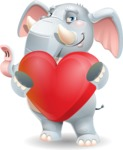 Elephant Cartoon Vector Character - Holding heart