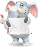 Elephant Cartoon Vector Character - Holding mail envelope