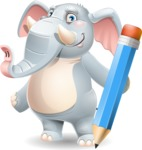 Elephant Cartoon Vector Character - Holding Pencil