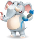 Elephant Cartoon Vector Character - Holding phone with thumbs up