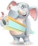 Elephant Cartoon Vector Character - Holding Plans