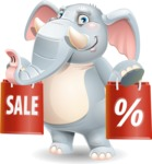 Elephant Cartoon Vector Character - Holding shopping bags