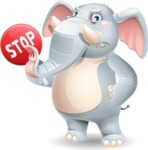 Elephant Cartoon Vector Character - Holding Stop sign