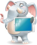 Elephant Cartoon Vector Character - Holding tablet
