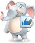 Elephant Cartoon Vector Character - Holding Thumbs Up sign