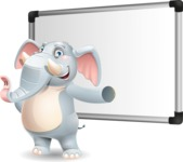 Elephant Cartoon Vector Character - Making a Presentation on a Blank white board